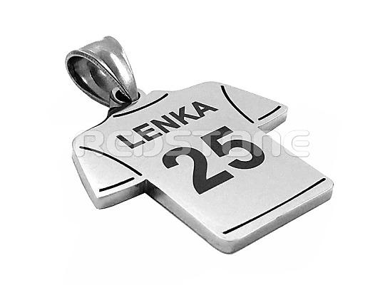6d5d9a6af Oceľový prívesok - futbalový dres s menom a číslom