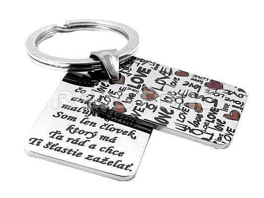 Oceľová kľúčenka love s textom 4f036347454