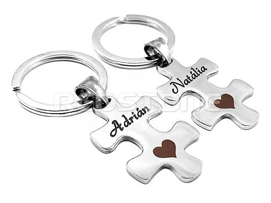Sada kľúčeniek pre páry v tvare puzzle 346bdb1b9d6